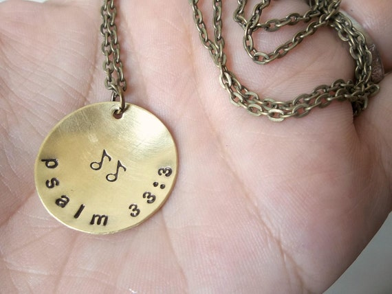 sing a new song - psalm 33:3 - Custom Hand Stamped Brass Necklace with music notes