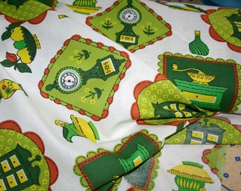 Lime Green Kitchen Print- Vintage Cotton Blend Fabric- Yardage- Authentic 1970's