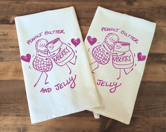 PB & J Peanut butter and jelly love set of two Tea Dish Rainbow Towel set