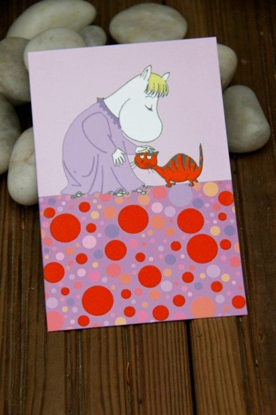 LAST ONE Snorkmaiden postcard with velvet detail made in Finland
