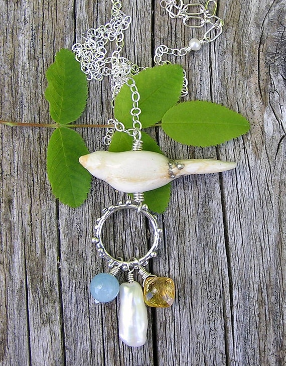 lampwork glass bird, aquamarine, pearl, citrine, and sterling silver gemstone necklace.  pendant necklace. OOAK.