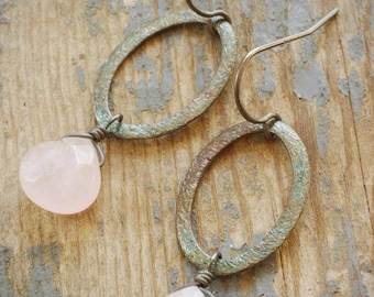 rose quartz drop halo oval earrings. pale light pink drops on oxidized brushed sterling silver ellipse hoops by val b.