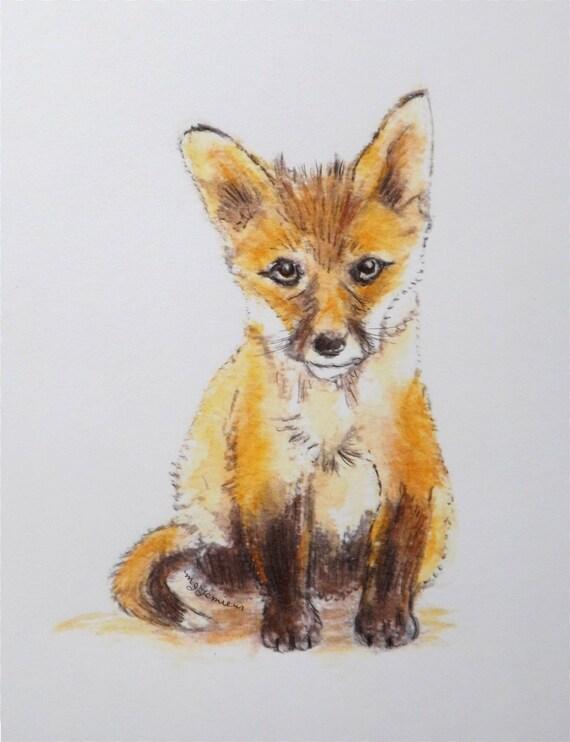 Fox Print Baby Red Fine Art Watercolor Nursery Decor Home