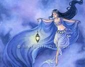 Night Sky, Belly Dancer, Blue, stars, fantasy  art print - 8x10 inches