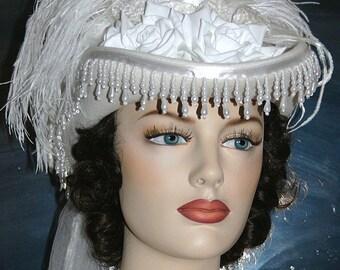 Victorian Hat SASS Hat Wedding Hat Tea Party Hat White Hat - Spirit of Alexandria - Women's Western Hat