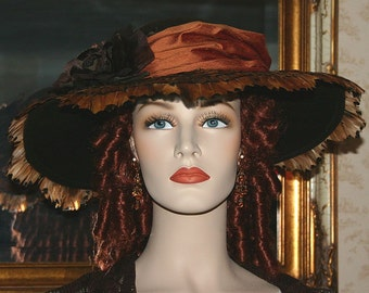 Edwardian Hat Downton Abbey Tea Hat Kentucky Derby Hat Ascot Titanic Hat - Mademoiselle Gabrielle - Wide Brim Hat Womens