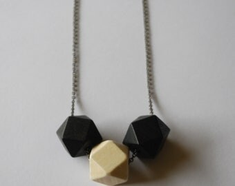 Faceted Geometric Necklace - 3 Black and White Wooden Beads