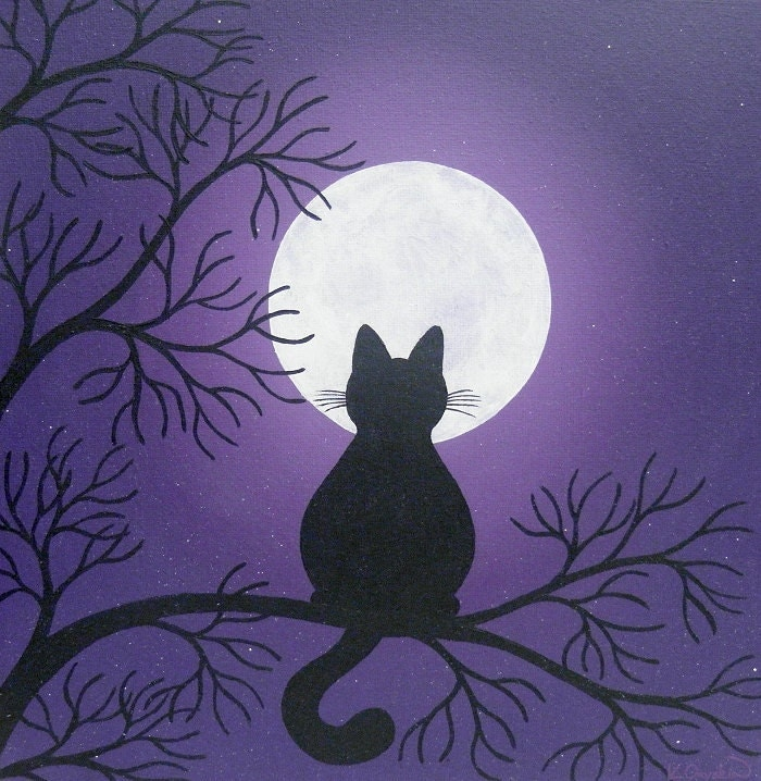 Black cat in the moonlight painting for Cat paintings on canvas