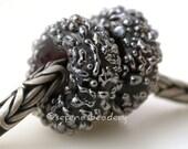 Lampwork Bead European Charm BLACK Silver Luster Sugar Pair Handmade Glass Beads - taneres sra
