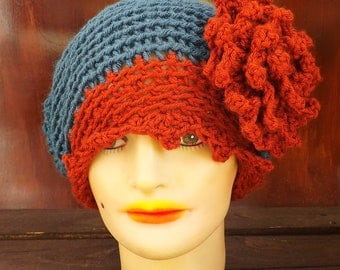 Crochet Hat,  Womens Hat Trendy,  Terra Cotta Orange Hat Teal Blue Hat,  EVE 1920s Cloche Hat Crochet Flower