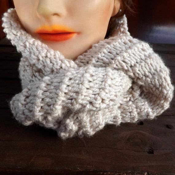 Linen Crochet Scarf, Crochet Infinity Scarf, Crochet Cowl Scarf, Linen Scarf, Ribbed Scarf, KNOT Scarf, Crochet Scarf
