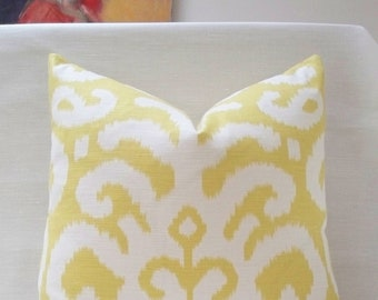 "20"" Citron Yellow Fergana Ikat Duralee Handmade Pillow Cover Cotton Linen blend"
