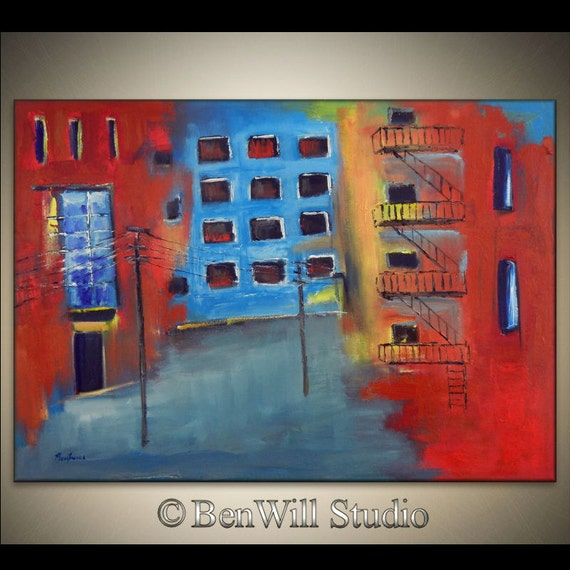 Abstract CITYSCAPE Painting LARGE Original City Acrylic Painting Blue Gray Red - URBAN Landscape Art 40x28 by BenWill