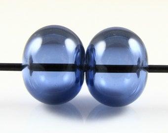 Regular Hollow SALE - Sapphire Blue Lampwork Glass Hollow Bead Pairs