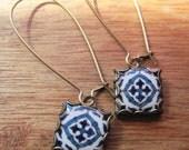 Spain, Spanish tile jewelry, Iberian Peninsula drop earrings, blue gypsy jewelry, Baroque earrings, free gift wrap