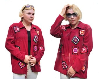 Shabby chic jacket  red cardigan granny square jacket red cardigan patchwork  creative cardigan refashioned cardigan altered couture boho
