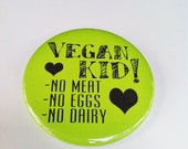 Green Vegan Kid 2.25 inch Pinback Button