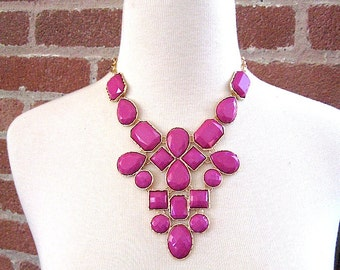 Berry Statement Necklace - Big Bold - Contemporary Fashion - Pink Necklace - vacation - resort wear