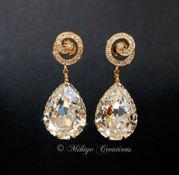 Bridal Earrings, Wedding Accessories, Bridal Chandelier Swarovski Crystal Cubic Zirconia Drop Earrings, Wedding Earrings  - Golden Swirls