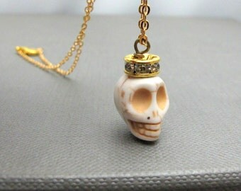 "King White Skull Necklace // White Howlite Skull // Gold Rhinestone Paved Rondell // 17"" Gold Plated Chain // Halloween // Gift under 25"