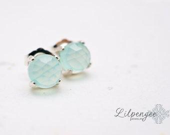 SALE. mint crush - aqua chalcedony earrings. aqua studs. gemstone studs. mint green