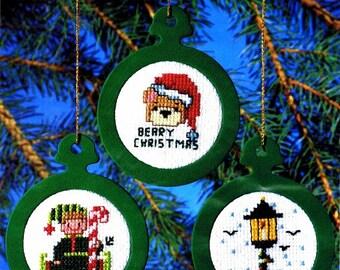 Christmas Ornaments Cross Stitch Kit Bear Elf Birdhouse Counted Thread NMI Needlemagic