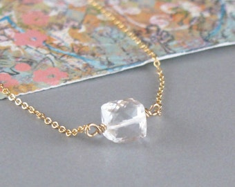 Tiny Rock Crystal Cube Gold Chain or Sterling Silver Chain Necklace DJStrang Boho Cottage Chic