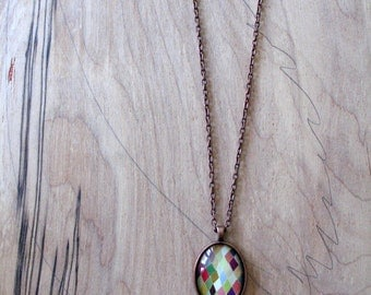 Colorful Diamonds - abstract geometric design - mini print necklace oval pendant and chain