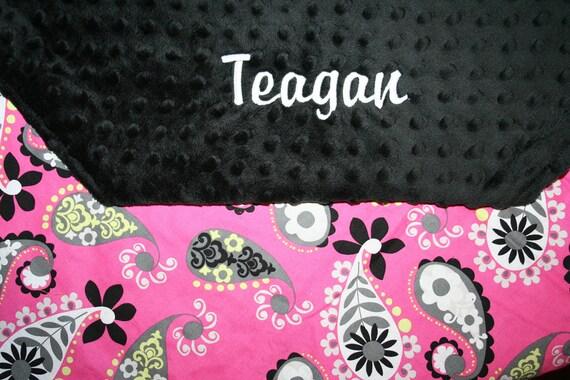 Pink and Black Baby Blanket- Paisley Baby Blanket - Girl Baby Blanket  - Minky Baby Blanket - Minky Girl Blanket