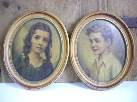 Vintage Framed Oval Pictures Girl Boy Shabby Chic