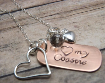 military necklace-hand-stamped-personalized-love my coastie-army-navy-marine-airforce