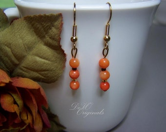 SALE Originally 8.00 - Orange & Gold Wire Beaded Earrings