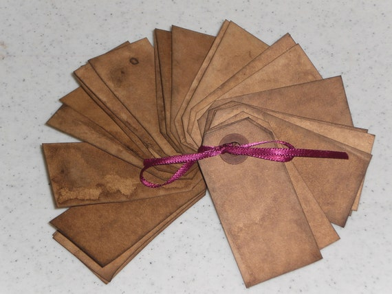 Set of 25 Primitive Grungy Grubby Manila Price Tags Hang Tags Gift Ties for Dollies Ornies Bowl Fillers and More