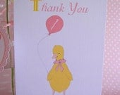 Little Duckling's Party - Thank You Cards - blue or pink