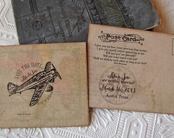 Destination Wedding Save the Date Postcard Vintage Airplane World Map Compass Aviation Walt  Whitman Quote Kraft Lace