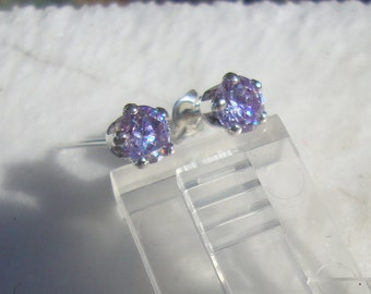 Earrings prong set Lavender CZ, 5mm  posts studs - eco friendly sterling silver from recycled sources - Sparklies made by me in the USA