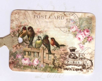 French Bird Tags , Vintage Bird ,  Postcard tags , Bird Tags , Paris Tags