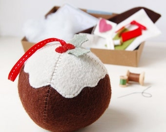 Christmas Pudding Decoration - Make Your Own - Children's Sewing Kit - Creative Activity Kit - Christmas Toy - Pudding Lover