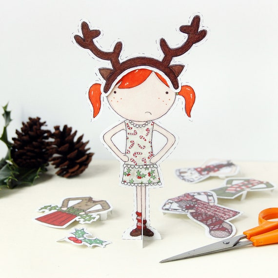 Clara Paper Doll, Dress Up Doll - The Christmas Special - Postcard Paper Toy