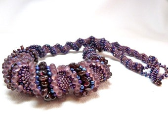 ON SALE - Orchid Amethyst Cellini Spiral Beadwoven Necklace