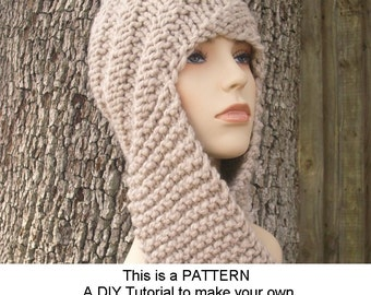 Hooded Scarf Knitting Patterns : hooded scarf: NEW 597 HOODED SCARF KNITTING PATTERN