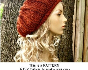 Instant Download Knitting Pattern - Knit Hat Pattern for Chunky Rolled Brim Ribbed Beret Womens Hat Pattern - Womens Accessories