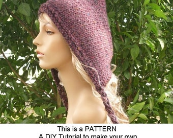 Instant Download Knitting Pattern - Knit Hat Knitting Pattern - Knit Hat Pattern Spring Pixie Hat Pattern - Womens Hat - Womens