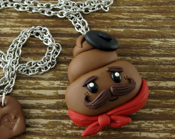 French Poop Polymer Clay Necklace