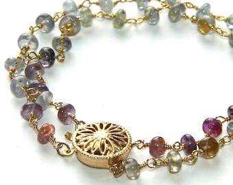 Double Strand Sapphire Bracelet - Pinks, Blues, Grays with 14k GF Flower Box Clasp