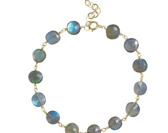 Labradorite Gemstone Wire-wrapped Bracelet with 14K Goldfilled Wire, Mothers Day, Graduation Gift, Mother's Day, Bridal