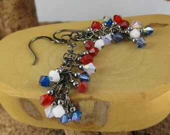 Americana red white and blue patriotic gunmetal finish Swarovski Crystal cascade french hook earrings
