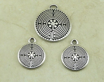3 TierraCast Labyrinth Maze Charms and Pendant Mix > Zen Peace Tranquility Yoga - Fine Silver plated Lead Free Pewter I ship Internationally