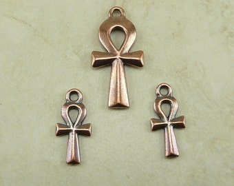 3 TierraCast Egyptian Ankh Charm and Pendant Mix Pack - Copper Plated Lead Free Pewter - I ship Internationally 2295