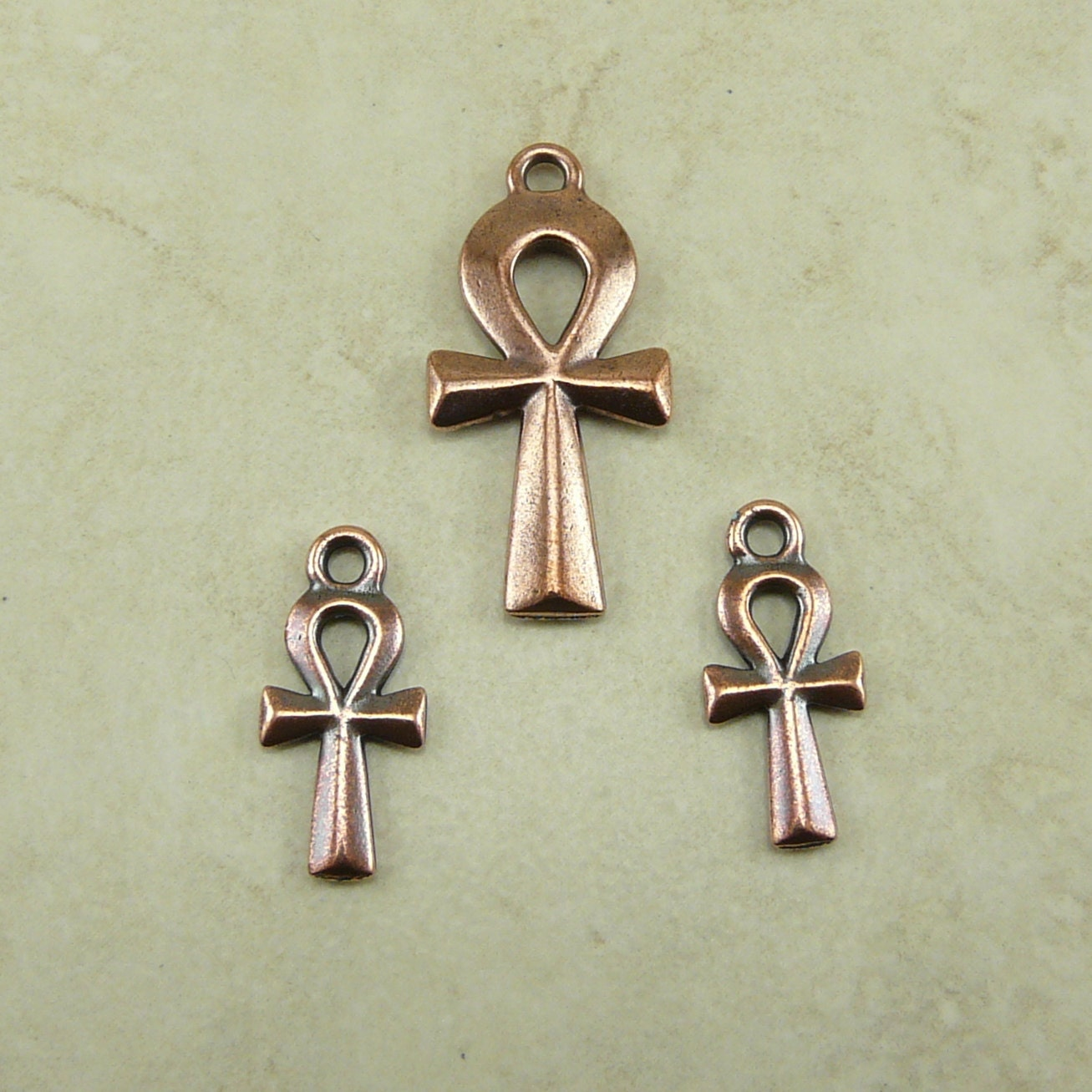 3 tierracast ankh charm and pendant mix pack copper